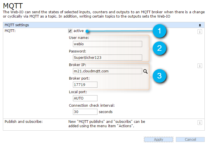 MQTT basic settings on the Web-IO